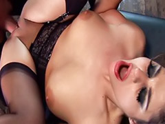Two threesomes, Two cum, Threesome stocking, Stockings deepthroat, Sex guys, High heels fuck
