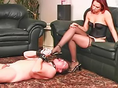 My slave, Redhead stocking, Redhead stockings heels, Redhead stockings, Redhead femdom, Stockings spank