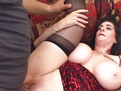 Mature threesome, Titfuck