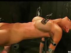 Metal bondage, Flogged, Busty bondage, Busty bound, Bounded, Bound