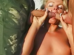 Two cum, Two blonds, Two blondes, Two blonde, Two anal, Threesome outdoor
