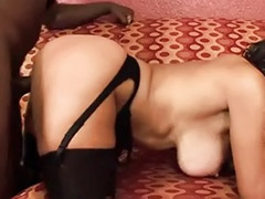 Interracial huge cock, Two huge, Two cocks in, Rimming stocking, Rimming stockings, Rimming cream
