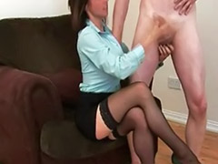 Tugs, Tugly, Tugging, Tug, Stockings heels brunette cum, Stockings handjob