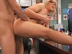 Office fuck, Fucking glasses, Glasses blowjob, Blowjob glasses, Blonde perky, Blond glasses