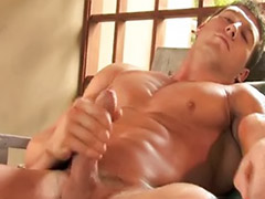 Muscular male wank, Mounted, Solo male cum