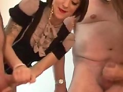 Mature handjob, Party