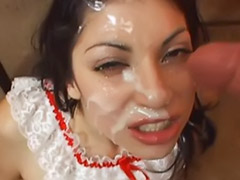 Two sluts, Ñiñas, Two facial, Two dicks, Two deepthroat, Threesome hard sex