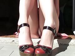 On floor, High heel dangle, Dangling, Dangle, Girl sitting on, Amateur solo heels