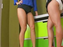 Hot brunette, Rubbed, Lesbian rubbing, Lesbian high heel, Highly, High heels lesbian