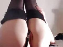 Solo girl anal dildo