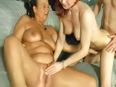 Mature threesome, Mature blowjob