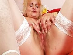 Toying granny, Pussy granny, Hairy stockings, Hairy granny, Fetish toy, Girl old