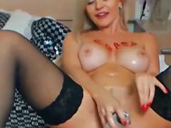 Pirang cantik, Cewek masturbasi webcam