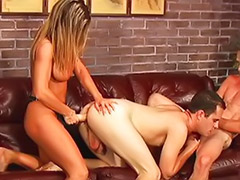 Threesome strap on, Threesome bisexual, Threesome cum on tits, Rammed hard, Strap on threesome, Strap on heels