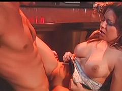 Blowjob in bar, Bar sex, Cum on the vagina