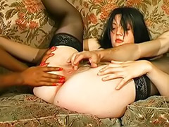 Two sluts, Masturbation french, Interracial anal slut, In french, French threesome, French two