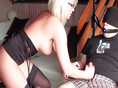 Stocking handjob, Stockings handjob