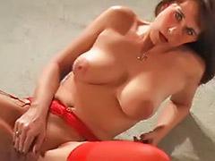 Red lingeries, Red lingerie, Red milf, Milf in lingerie, Milf gagging, Gagging milf