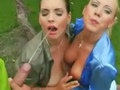 Vaginal pissing, Titfuck outdoor, Titfuck blowjob threesome, Threesome titfuck, Threesome pissing, Threesome piss