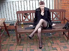 Mature masturbation, Mature stockings, British, Mature masturbating, Leggings