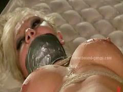 Gang bang brutal, Gang bang, Busty blonde, Busty, Brutally, Brutality