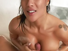 Titfuck massage, Threesome titfuck, Threesome bathroom, Threesome massage, Pornstar bathroom, Massage threesome