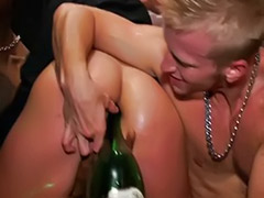 Party anal, Party cfnm, In party, Her asshole, Bottle anal, Bottle masturbation