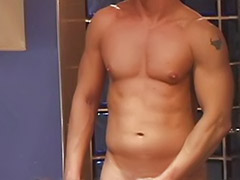 Rip, Ripping, Solo in bathroom, Muscular male wank, Masturbating in bathroom, Bathroom male