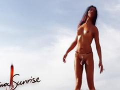 Sunrise, Nude shemale, Crystal, Backstage