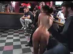 Tossed, Public bondage, Brunette in bar, Barely, Bared, Bar sex