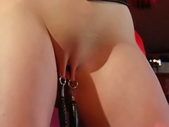 With boots, Toy slave, Weights, Redhead latex, Redhead femdom, Pussy spanking