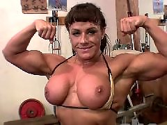 Muscled, Muscle, Brunette tits, Big tits brunette