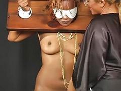 Toying ebony, Strap-on femdom, Shaved bondage, Lesbians femdom, Lesbians boots, Lesbians bondage