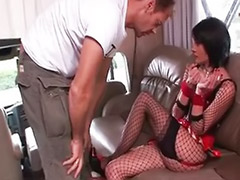 Sex in a fishnet, Fishnet stocking, Fishnet blowjob, Dark hair, Dark girl