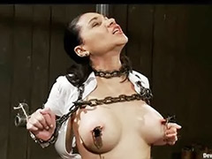 Busty bondage, Chained, Chain