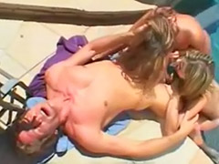 Two blonde toys, At the pool