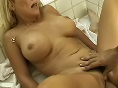 Mature couple bathroom, Mature busty blowjob, Busty mature blowjob
