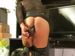 Toying tranny, Stocking toy fuck, Fuck and anal toy, Tranny toy, Tranny stockings, Tranny stocking