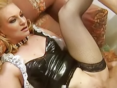 Uniform anal stockings, Uniform threesome, Threesome stockings blonde, Threesome maid, Peeing blondes, Pee anal