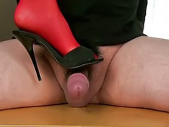 Table handjob, Stockings handjob, Stockings footjob, Stocking handjob, Stocking femdom, High heels handjob
