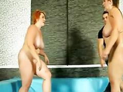 X wrestling, Tit wrestling, Tit out, Threesome femdom, Threesome chubby, Threesome bbw