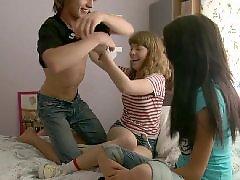 Threesome, Russian, Teen, Lesbian, Teen lesbians, Teen couple